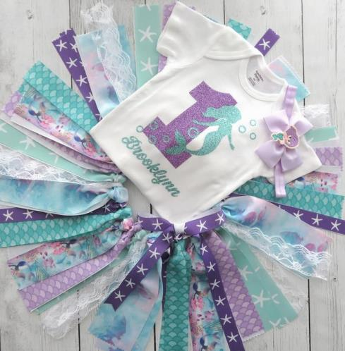 Personalized Mermaid First Birthday Tutu Outfit