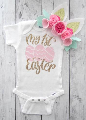 My First Easter Baby Pink Eggs Glitter Bodysuit