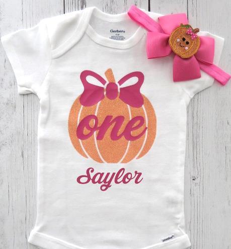 Hot Pink and Orange Pumpkin 1st Birthday Bodysuit