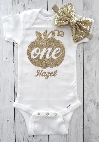 Personalized Gold Glitter Pumpkin 1st Birthday Bodysuit