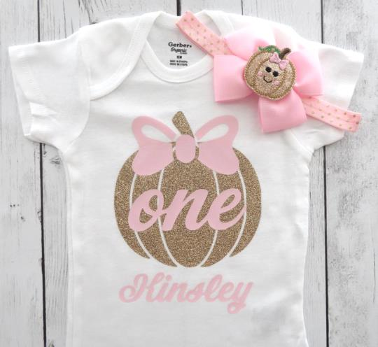 Personalized Pink and Gold Glitter Pumpkin 1st Birthday Bodysuit