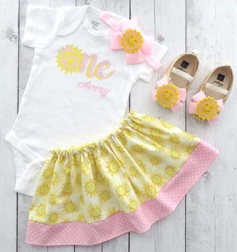 Light Pink & Yellow Sunshine 1st Birthday Personalized Outfit