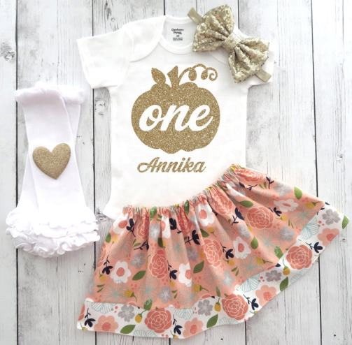 Personalized Floral Peach & Gold 1st Birthday Pumpkin Outfit