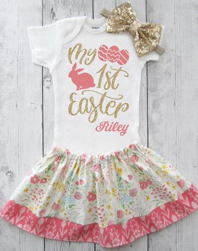 First Easter Personalized Outfit for Baby Girl
