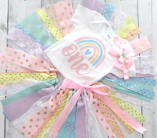 Pastel Rainbow 1st Birthday Tutu Outfit