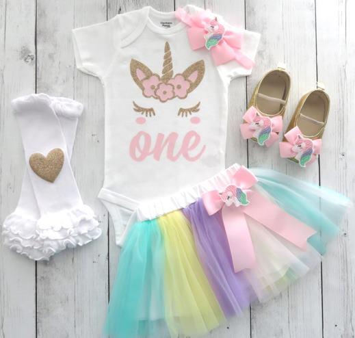 Rainbow Unicorn 1st Birthday Tutu Outfit