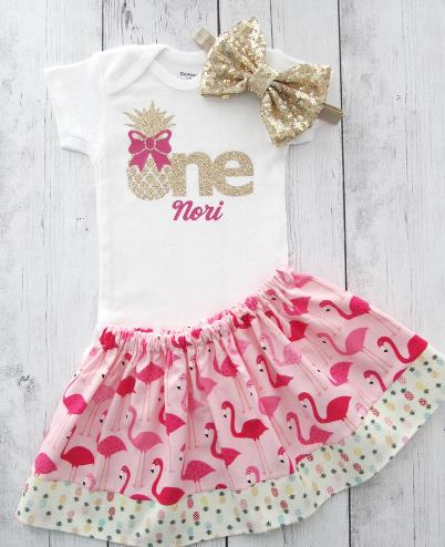Personalized Pineapple Flamingo First Birthday Outfit