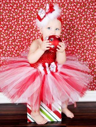 Candy Cane Holiday Glitz Couture Baby Tutu Dress