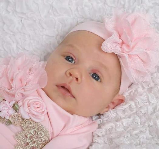 Newborn Couture Pink Coming Home Outfit Gown with Matching Headband