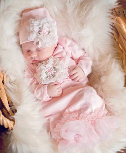 Pink Couture Newborn Coming Home Outfit Gown and Matching Hat