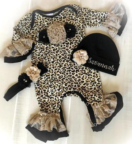 Leopard Lace Couture Ruffle Romper