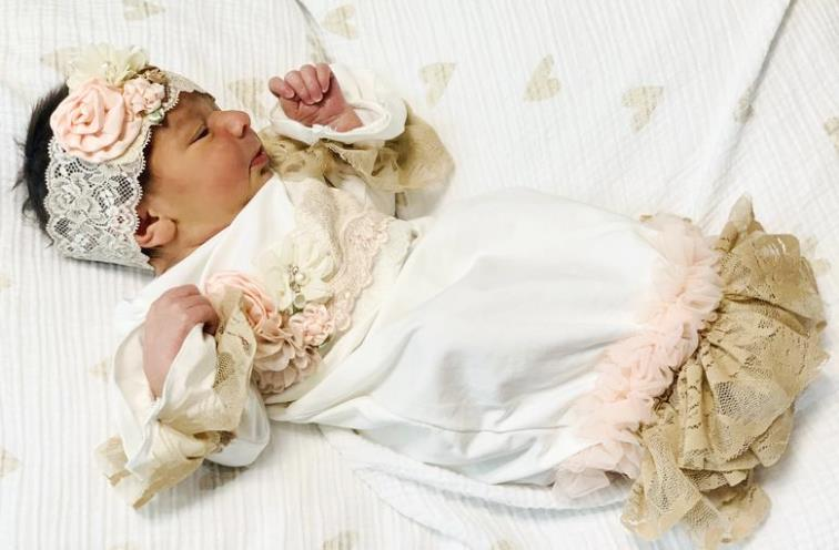 Newborn Taupe & Peach Lace Couture Ruffle Gown