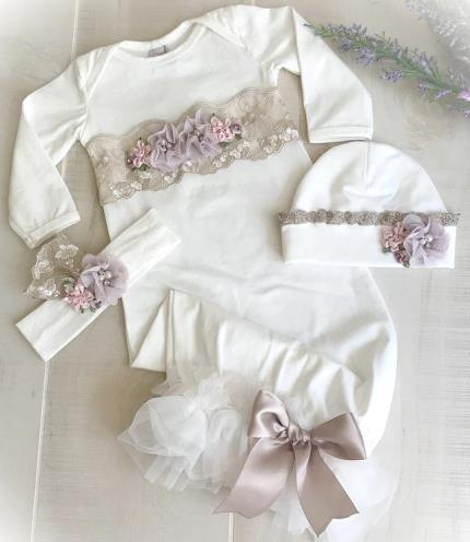 Newborn Couture Lilac Lace Ruffle Gown