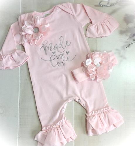 Newborn Made With Love Pink Ruffle Rhinestone Romper