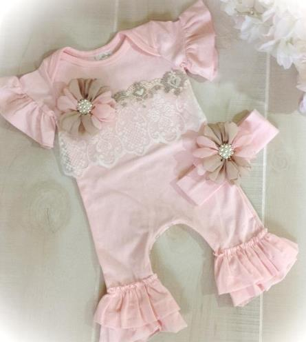 Beige & Pink Couture Lace Ruffle Romper Outfit with Matching Headband