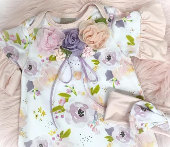 Spring Floral Couture Ruffle Romper with Matching Headband