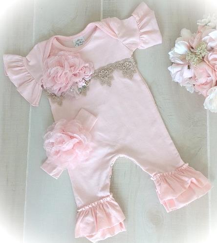 Pink Victorian Lace Ruffle Romper Outfit and Matching Flower Headband