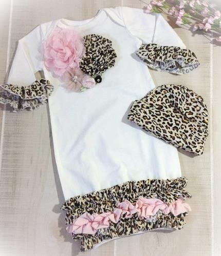 Newborn Leopard and Pink Gown Coming Home Outfit with Matching Hat
