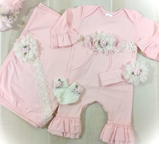Pink Couture Newborn Ruffle Romper Outfit and Matching Headband