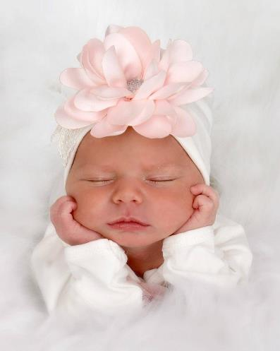 Pink Flower Lace Couture Newborn Hospital Hat