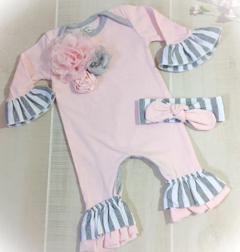 Pink and Gray Striped Ruffle Flower Romper and Matching Headband