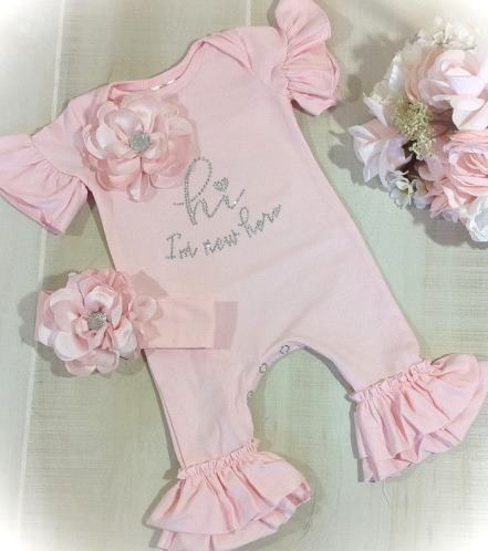 I'm New Here Pink Ruffle Romper and Matching Headband