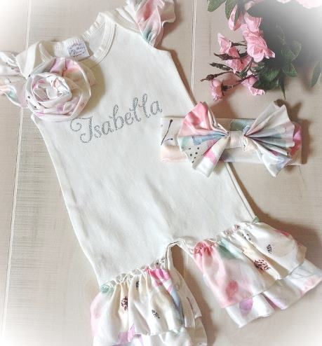 Personalized Floral Ruffle Romper with Matching Headband Bow