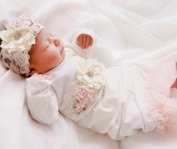 Newborn Couture White Coming Home Outfit Gown with Matching Headband