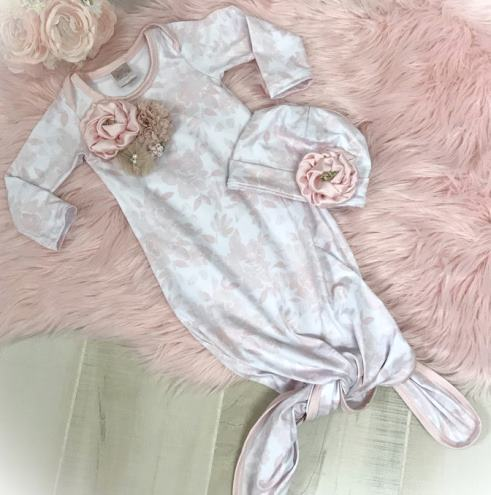 Pink Floral Couture Tie Bottom Newborn Gown with Matching Hat