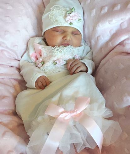 Newborn Ivory Lace Couture Ribbon Gown with Matching Hat