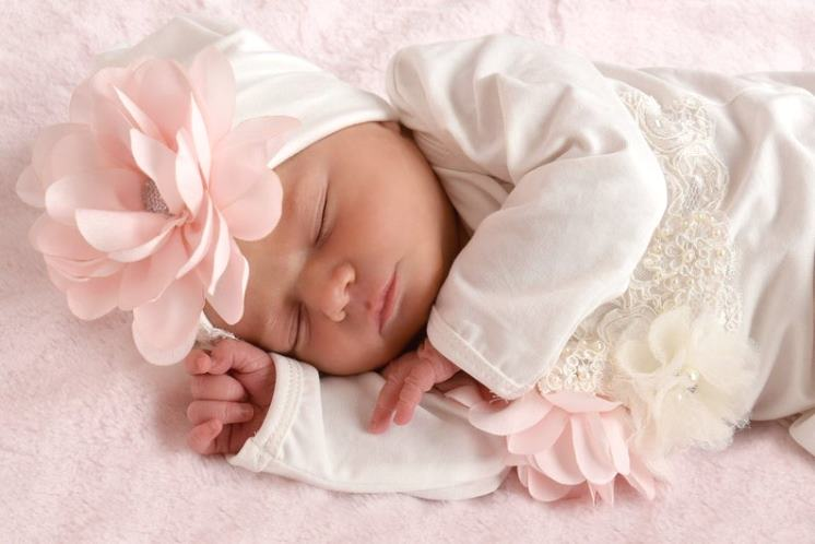 Ivory & Blush Newborn Layette Couture Gown