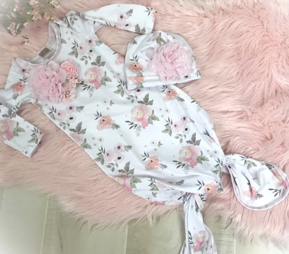Floral Couture Tie Bottom Newborn Gown with Matching Hat