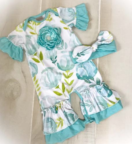 Teal Floral Ruffle Romper with Matching Headband