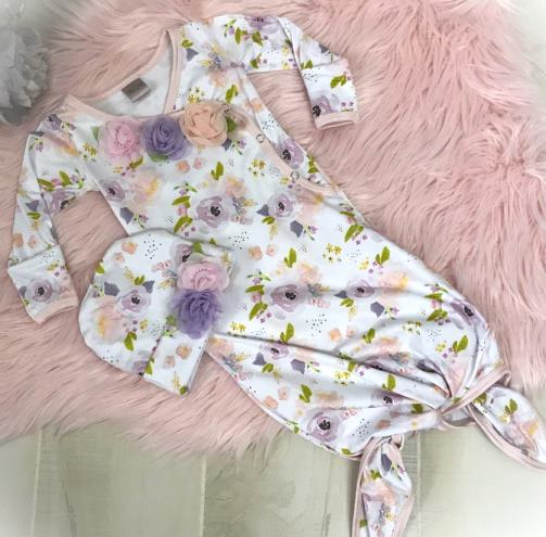 Lavender, Pink & Peach Floral Tie Bottom Newborn Gown with Matching Hat