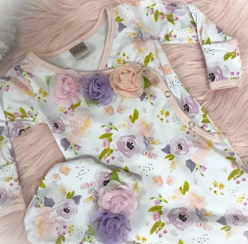 Lavender, Pink & Peach Floral Tie Bottom Newborn Gown with ...