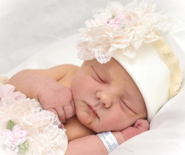 Ivory Lace Flower Couture Newborn Hospital Hat