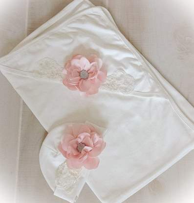 Ivory & Blush Newborn Layette Couture Blanket