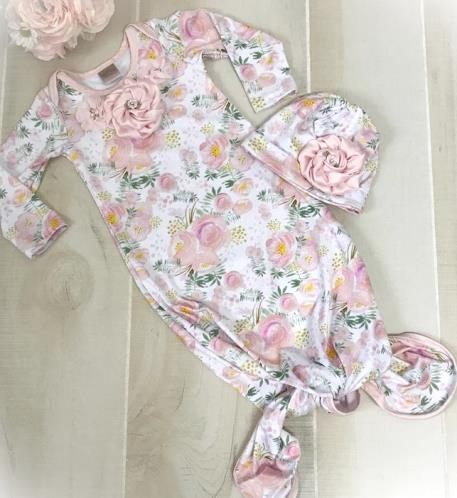 Pink and Gold Floral Couture Tie Bottom Newborn Gown with Matching Hat
