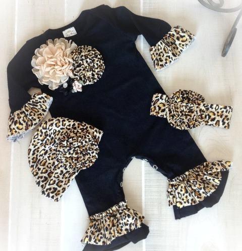 Black Leopard Ruffle Romper