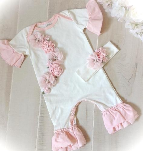 Newborn White & Pink Floral Couture Ruffle Romper