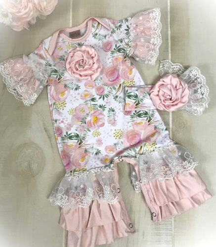 Pink Floral Couture Ruffle Lace Romper & Matching Headband