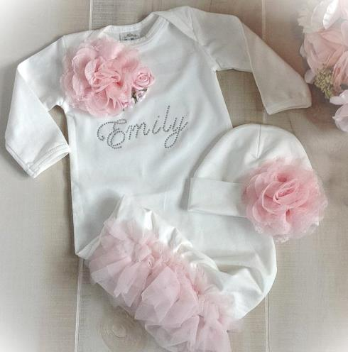Newborn White & Pink Personalized Couture Ruffle Gown