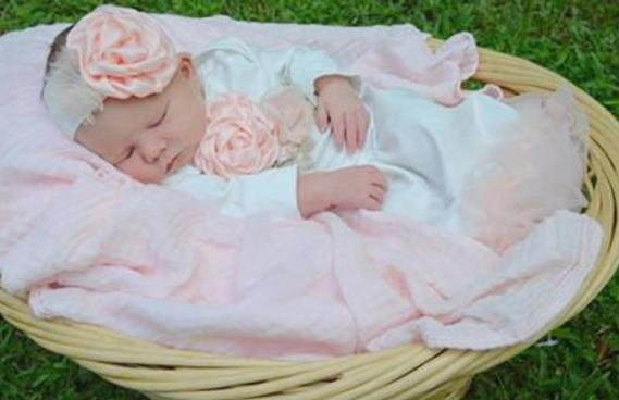 Newborn Couture Peach Coming Home Outfit Gown with Matching Headband
