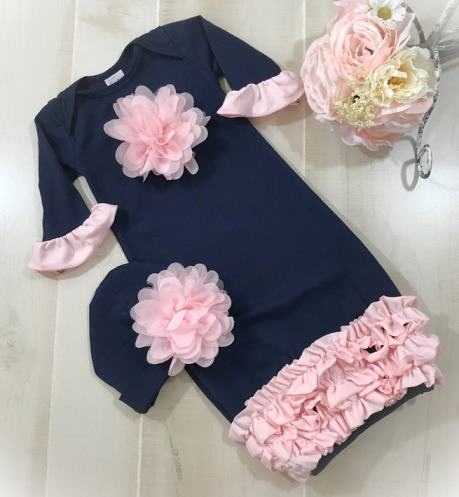 Navy & Pink Ruffle Newborn Coming Home Gown