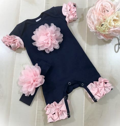 Navy & Pink Flower Ruffle Romper