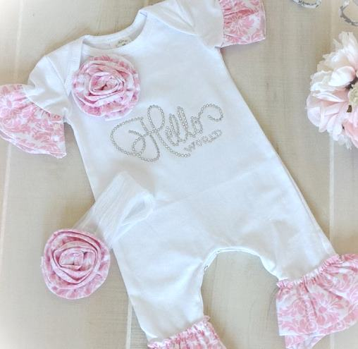 Hello World White & Pink Damask Ruffle Romper