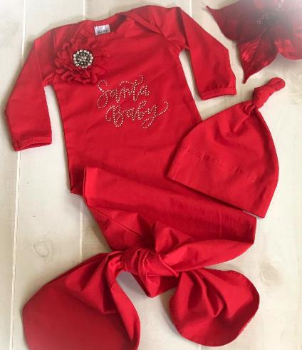 Red Santa Baby Couture Tie Bottom Holiday Gown with Matching Hat