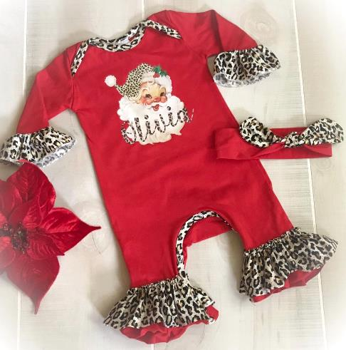 Personalized Red Santa Leopard Romper with Matching Headband
