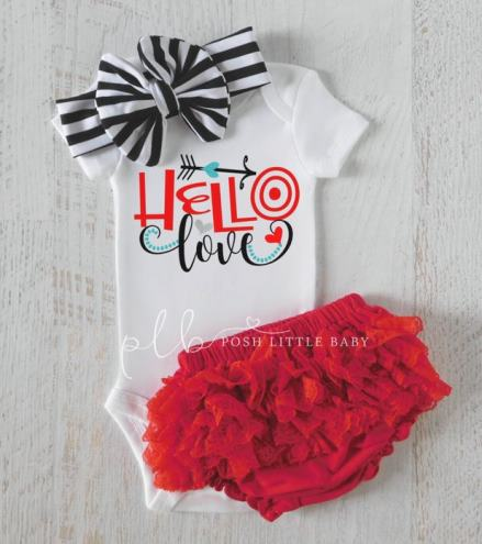 Hello Love Valentines Day Onesie, Diaper Cover and Headband Outfit Set