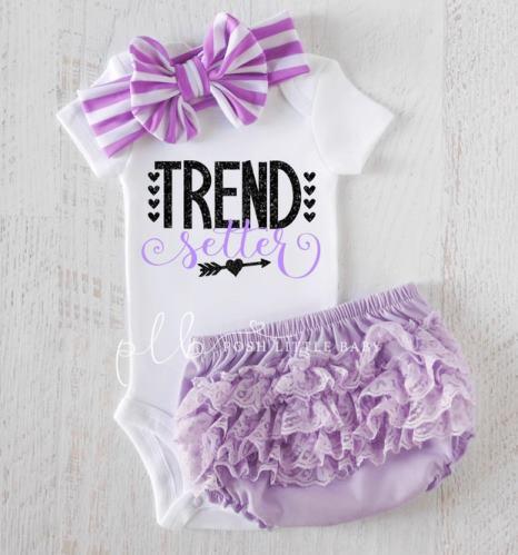 Trend Setter Lavender & Black Bodysuit